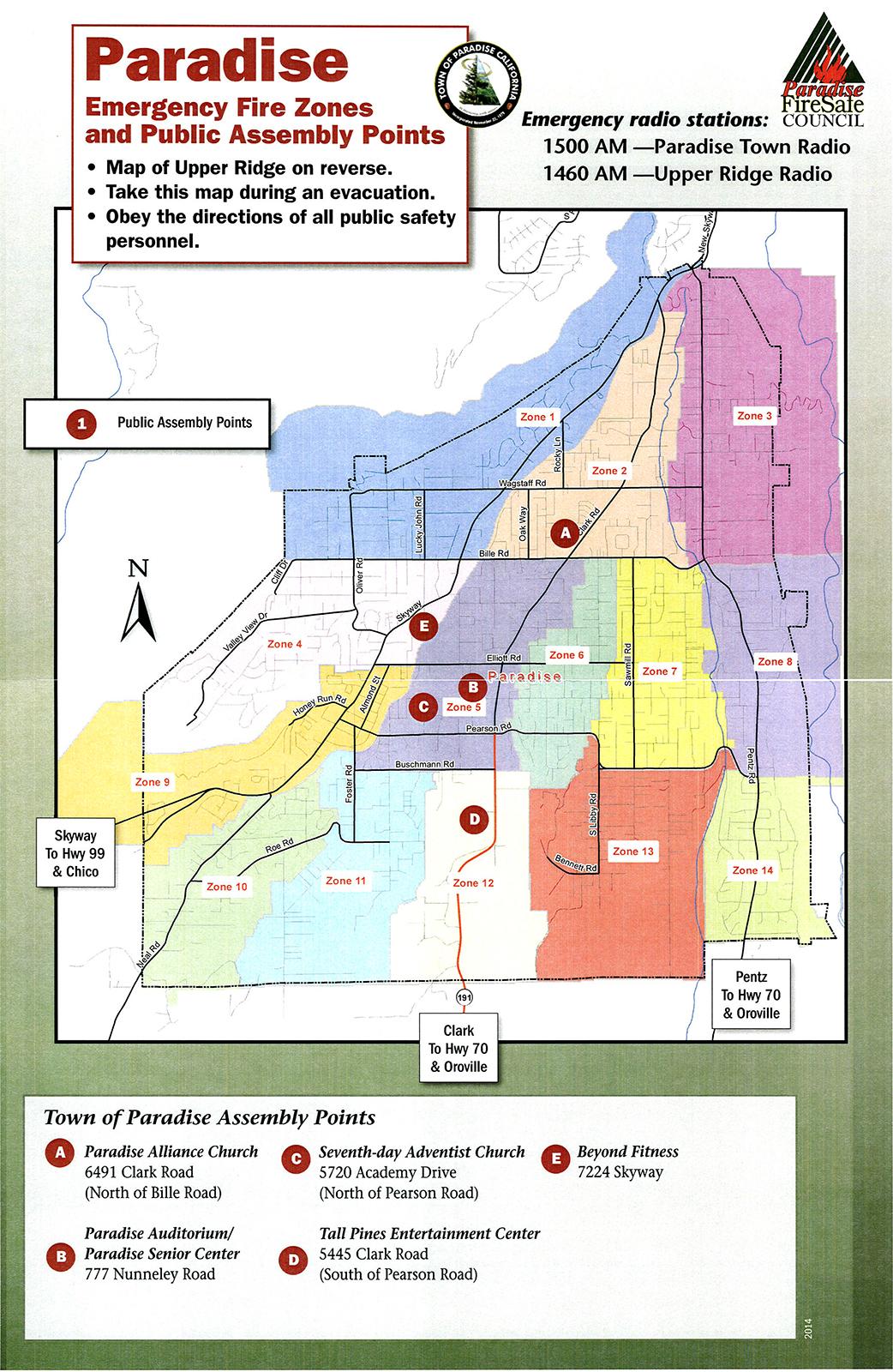 Lane Fire Map.Lower Paradise Evacuation Map